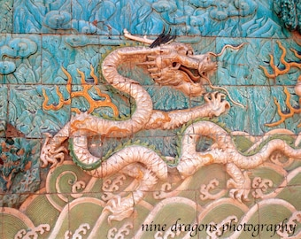 Blue Asian Art Chinese Dragon Print, Turquoise Art Print, Forbidden City Oriental Photography, Chinese  Wall Art, Asian Decor, Dragon Art