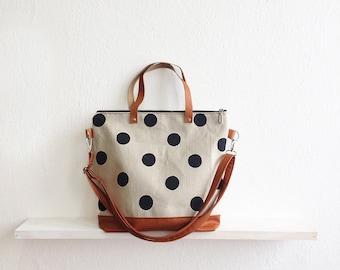 Large Polka dot Tote bag, Crossbody bag, Shoulder bag, Black and white, Canvas Tote, Dotted bag, Casual bag, Large tote, Everyday bag