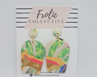 Large Dome Dangles / Polymer Clay / Cacti 348