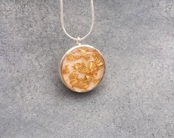 Gold Leaf Foil with White Resin Silver-plated Open Back Bezel Resin Necklace, Resin Necklace, Resin Jewelry, Leaf Foil, Reversible