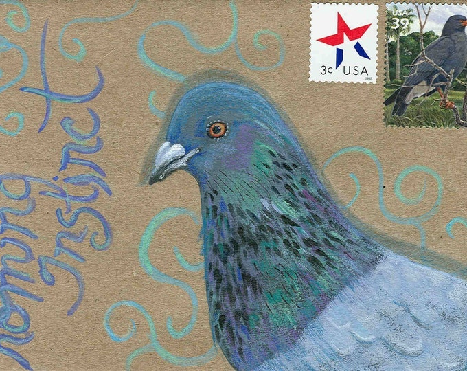Carrier Pigeon blank greeting card