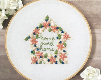 """housewarming gift. new home housewarming gift. home sweet home embroidery. first home gift. home decoration // Ready to Ship 7"""" Hoop"""