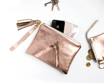 Rosegold Copper Wristlet, Rosegold Leather Clutch, Sparkle Wedding Clutch, Metallic Bridesmaid Clutch, Small Copper Bridal Clutch