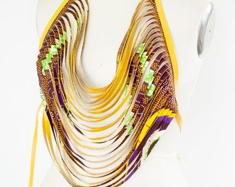 African Print Body Necklace Vegan Leather Purple and Gold