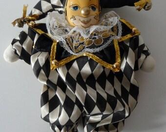 Sale 20%off - Vintage Pierrot Doll - Black & White doll