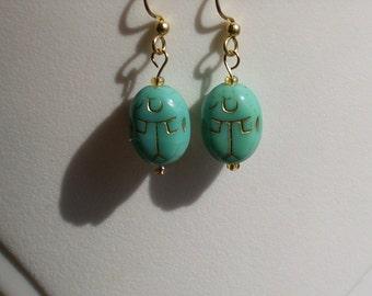 Scarab Turquoise Glass Earrings