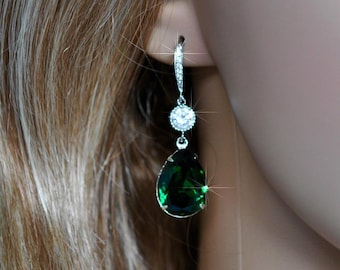 Handmade Swarovski Emerald Green Pear Crystal Dangle Earrings, Bridal, Wedding (Sparkle-2550)
