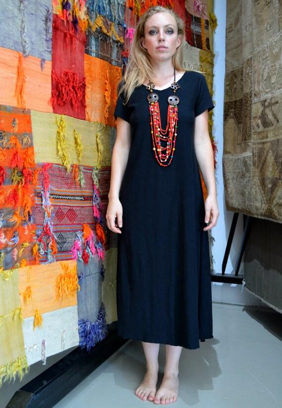 Black Hemp dress, full length short sleeve dress, Light organic Hemp/cotton jersey knit. SPRING SALE 50% OFF. Ready to ship.