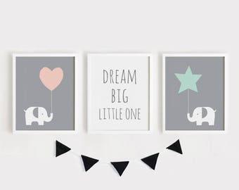 Druckbare Kindergarten Kunst Set 3 Poster Babyzimmer Wandkunst