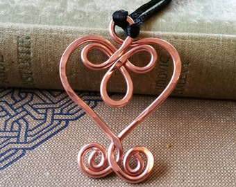 Copper Celtic Heart Pendant, Copper Heart Necklace, Mother's Day Gift Celtic Jewelry, Women, Celtic Knot Gift for Her, Copper Jewelry