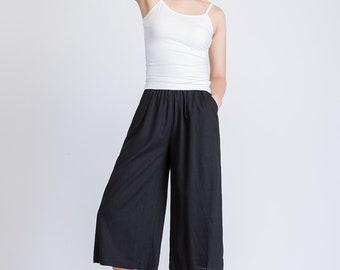 black capri pants women, summer linen pants, elastic waist pants, wide leg capri pants, casual capri pants, capri trouser, pocket pants 1935