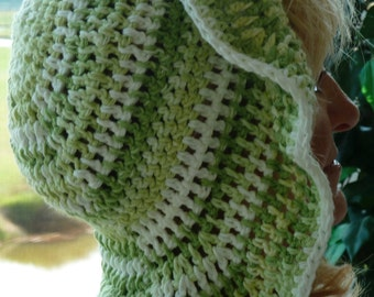 Floppy chemo hat in all cotton, cute crochet hat in greens, the big brim give protection from the sun, free shipping on chemo hats
