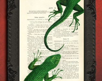 reptile decor green lizard print, gecko poster, book page decorations, dragon print, iguana, beautiful original inexpensive gifts