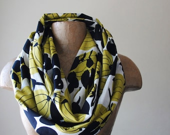 ABSTRACT PRINT Infinity Scarf, Dark Goldenrod and Black Botanical Loop Scarf, Cotton Circle Scarf, Lightweight Scarf