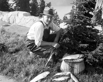 "Fisherman with His Catch of Trout Vintage Photograph 8.5"" x 11"" Reprint"