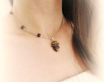 Collana fiore girocollo pietre dure occhio di tigre collana agata grigia regalo per lei collana floreale pendente fiore pietre