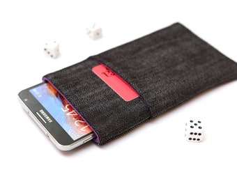 Galaxy Note 8, Galaxy Note 7, Note 5, Note Edge, Note 4, 3 sleeve case cover pouch handmade dark jeans and purple with a pocket