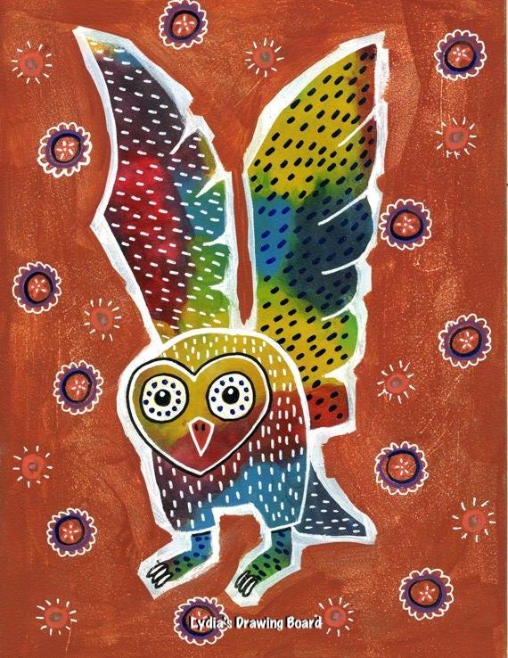 Owl,  Owl Art, Owl Art Print, Owl Artwork, Owl Print, Mexican Art, Mexican Folk Art, Animal Art, Animal Artwork, Animal Art Print, Totem