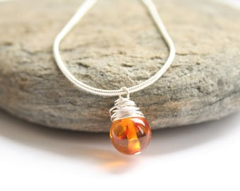 Amber necklace, mahogany amber necklace, Sterling silver necklace, wire wrapped necklace, Autumnal necklace