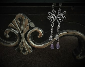 Purple Swarovski Handmade Wirework Earrings