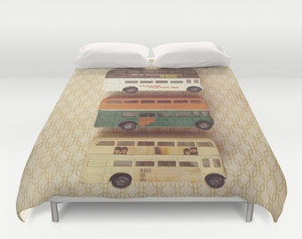 Beatles Buses Comforter or Duvet Cover: bedding, toy, yellow, brown