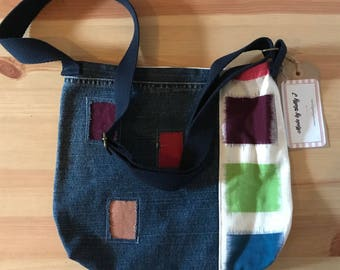Cross body denim bag / up-cycled jean bag / shabby chic bag