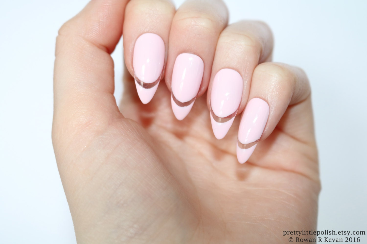 Pastel pink cut out stiletto nails, Pink stiletto nails , Pink nails ...