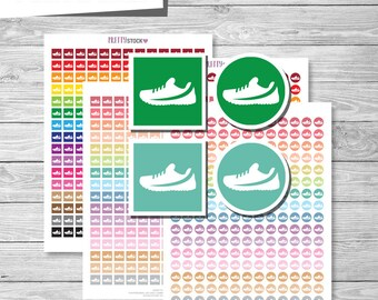Run Stickers, Printable Run Stickers, Running Planner Stickers, Run Shoes Stickers, Fitness Stickers, Workout Planner Stickers - PS25
