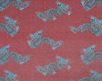 by the yard - chinoiserie velvet fabric -  Sahco Dragon