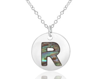 Letter R Initial Necklace Abalone Necklace Abalone Pendant Birthday Gift Hypoallergenic Jewelry Abalone Shell Jewellery Paua Shell Necklace