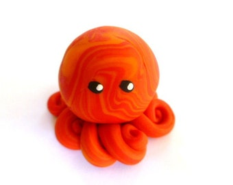 Awesome Little Octopus in Bright Red and Orange Swirl