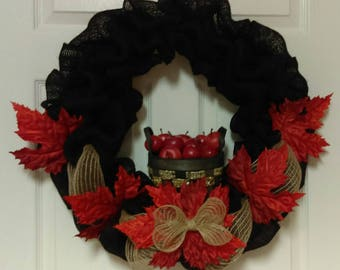 Fall burlap wreath with apples