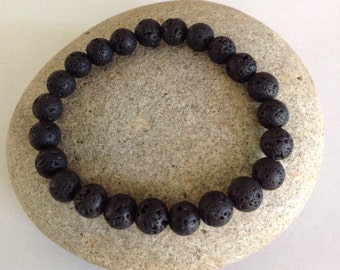 Diffuser Bracelet.Black Lava Stone - Protection - Strength -  Yoga Bracelet. Stretch Beaded Bracelet. Men or Women. Minimalist Jewelry.