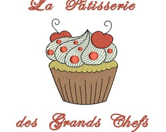Embroidery design machine cupcake with cherry instant download