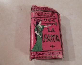 Vintage Pack of LA FAMA Fabrica De Cigarillos/Cigarettes Santiago, R. D.