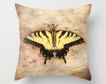 Butterfly Pillow, Throw Pillow, Pillow Cover, Butterfly Photography, Home Decor, Home Accessory, Fine Art Pillow, Swallowtail Pillow, Gift