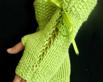 Light Green  Fingerless  Gloves Women Knit Corset Wrist Warmers