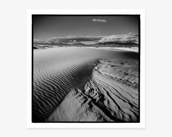 Black & White Photography, Fine Art Print, American West, Sand Ripples, White Sands National Monument, New Mexico, Holga, Landscape