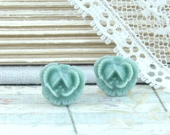 Blue Rose Studs Small Rose Earrings Rose Stud Earrings Blue Rose Earrings Surgical Steel Studs