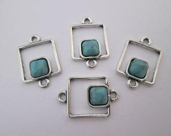 4 connecteur carré 22 x 15 mm en métal argenté et cabochon turquoise