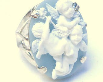 Size 8, Three Cherubs Cameo, New Sterling Silver Ring, High Relief Cameo, Baby Blue & White, Resin Cameo, Ladies Gift, OOAK