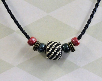 Beaded bead necklace on leather cord