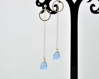 Celastial blue, quartz, sterling silver 925, earrings, minerals, gemstones, blue, long, leicht