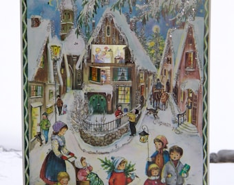 Vintage Advent Calendar (pic#1), German christmas, prepare for the holidays, magical, picture advent calendar/