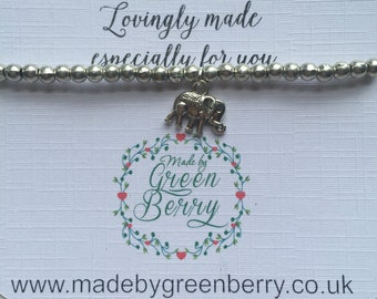 NEW** madebygreenberry Beaded Bracelet complete with elephant charm - made to order