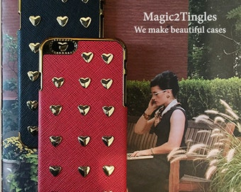 """Stunning Unique Heart Shape Metal Studs Synthetic Leather Case Gold or Silver Frame iPhone 6s - 4.7"""" Cover Case or any other models"""