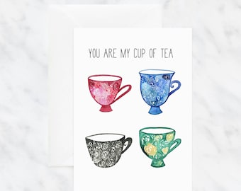 Valentine's Day Card - Tea Lover Gifts - Card for Girlfriend - Greeting Cards - Love Cards - You're My Cup of Tea - Blank Illustrated Cards