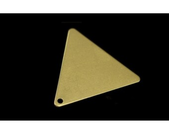 60 pcs 22x25 mm raw brass equilateral triangle tag 1 hole connector charms ,findings 926RMT