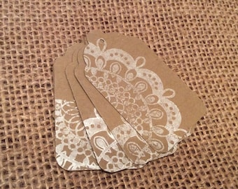 Lace Tags Gift Tags Favor Tags Wedding Tags, Merchandise Tags, Custom Colors