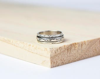 Liesel Spinner Ring, Worry Ring, Anxiety Ring, Fidget Ring, Meditation Ring, Personalised Ring, Meditation Jewelry, Sterling Silver, Spinner